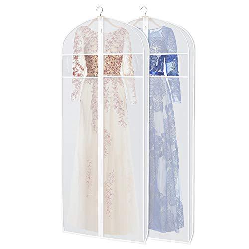 KEEGH Weiß kleidersack Abendkleid 183 cm Brautkleider Hochzeitskleider Brautkleid Aufbewahrung BIS ZU 50% Dickeres Material Kleidersäcke Protector,2PCs