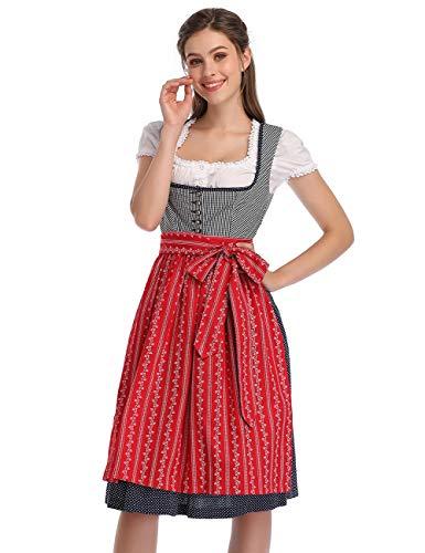 KOJOOIN Trachtenkleid Damen Dirndl Kurz mit Stickerei Exklusives Designer für Oktoberfest - DREI Teilig: Kleid, Bluse, Schürze Rot Blau Dunkelblau 42