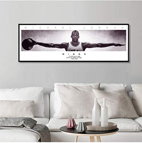 LYFCV Michael Jordan Wings Wandkunst Leinwandbilder für Wohnzimmer Moderne Leinwand Bilder Poster Drucke Wandkunst Dekor 50x150cm Kein Rahmen
