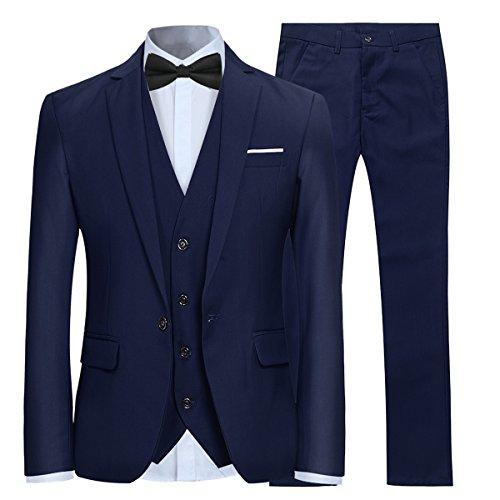 Anzug Herren Slim Fit 3 Teilig Anzüge Modern Herrenanzug 3-Teilig Sakko Hose Weste für Business Hochzeit Marineblau Large
