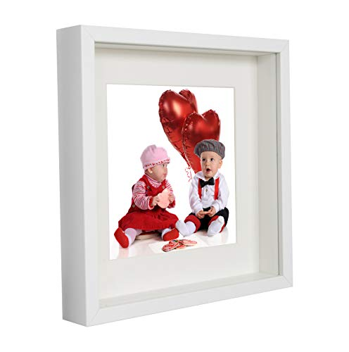 BD ART 23 x 23 cm Box 3D Bilderrahmen mit Passepartout 13 x 13 cm, Weiß