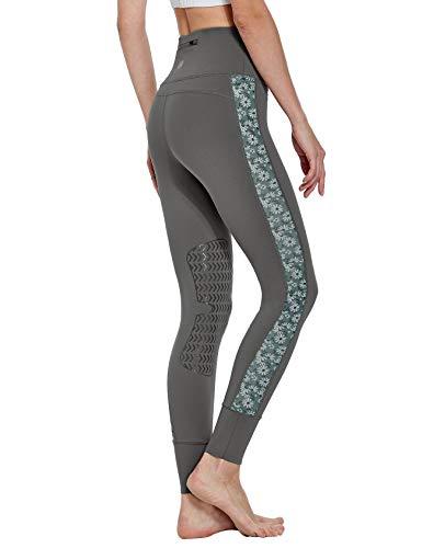 FitsT4 Reithose Reitleggings Damen mit Silikon Kniebesatz und Gürteltasche, elastische REIT-Tights mit bedrucktem MESH-Gewede an Hosenbein für Reitschule Reitsport, Grau, Gr. S