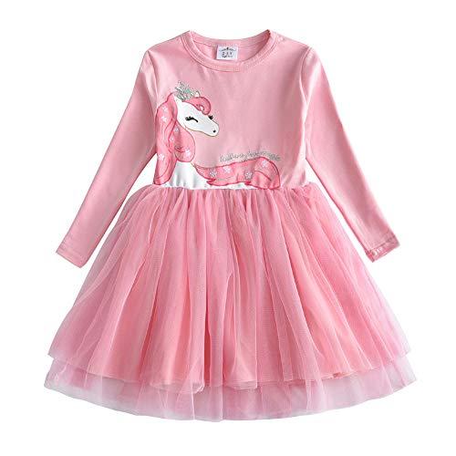 VIKITA Mädchen Kleider Langarm Kleid Blume Baumwolle Herbst Kinderkleidung LH4579 7T