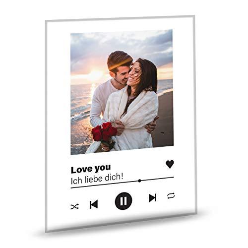 GRAVURZEILE Song Cover Glas Foto mit Bild + Titel und Musikalbum - Geschenk für Sie & Ihn - Geschenk für Frauen & Männer - Personalisierte Geschenke