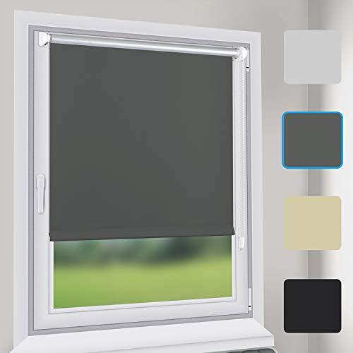 Sekey Verdunkelungsrollo Rollos - Verdunkelungsrollo Klemmfix ohne Bohren - 80cm x 130cm - Rollos für Fenster und Tür - Sonnenschutz - Grau