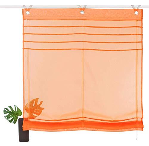 Eastery Rollos Ösenrollo Gardinen Vorhang Raffrollos Mit Haken Schlaufen Voile Transparent Einfacher Stil Vorhang Bxh 100X140Cm Gelb (Color : Orange, Size : Bxh 80X140Cm)