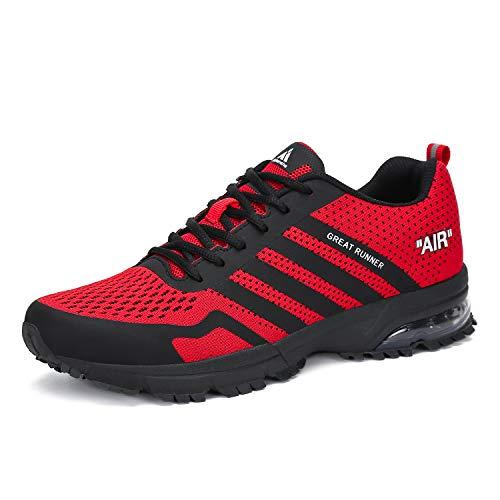 Laufschuhe Herren Damen Sportschuhe Leichte Turnschuhe rutschfeste Atmungsaktive Sneaker Mesh Running Schuhe Männer Frauen Rot 43 EU