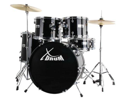 XDrum Classic Schlagzeug Komplettset Schwarz inkl. Schule + DVD