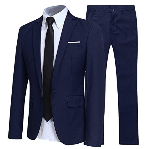 Allthemen Herren 2-Teilig Slim FIT Business Anzug Marineblau X-Large