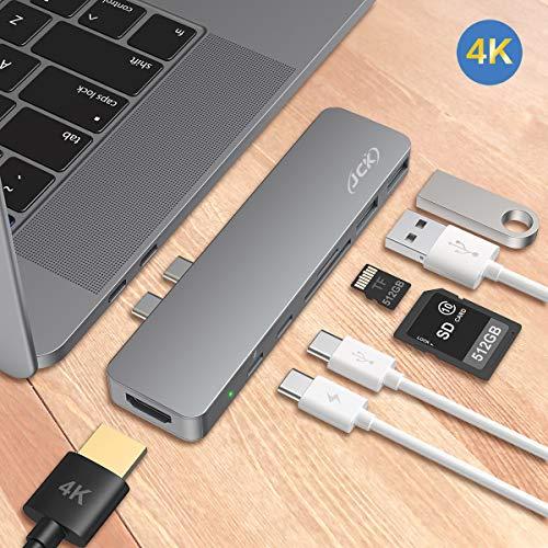 JCK USB C Hub, MacBook Pro Air Adapter mit 4K-HDMI, 2X USB 3.0, Thunderbolt 3 Port zur Aufladung, SD/TF-Kartenleser, USB-C Adapter Hub für MacBook Pro 2016-2020, 13/15/16