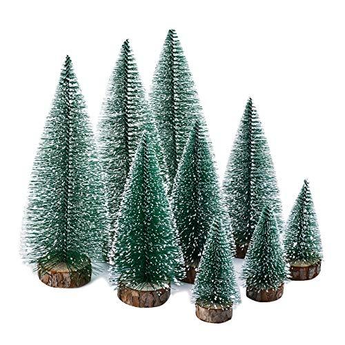 KATELUO 9Stück Mini Grün Tannenbaum,Künstlicher Weihnachtsbaum Miniatur,Mini Weihnachtsbaum Künstlicher,Weihnachtsbaum Schnee Klein mit Holzsockel,für Weihnachtsdeko/Tischdeko/DIY/Schaufenster,3Größen