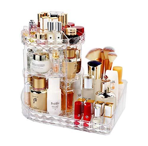 Make-up Organizer, Premium 360 Grad drehbares Kristall-Acrylglas Verstellbare Schmuckstücke Kosmetik-Parfüm-Vitrine, perfekt für Frisierkommode, Bad und Schlafzimmer