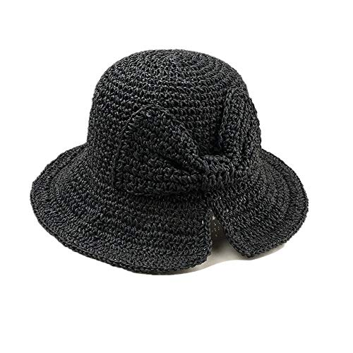 DOLDOA Hut Damen Sommer,Stroh Sommer Hüte Frauen Damenmode Faltbare Strand Sonnenhut Krempe (Schwarz)