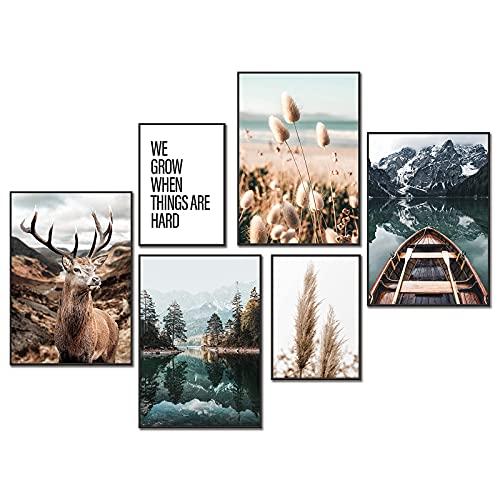 YLXQJIN Premium Poster Set Natur   Moderne Poster Set   Natur- Bilder   6er Set Stilvolle Wandbilder   4X DIN A4 und 2X DIN A5   Grün, Natur, Hirsch, Bergsee -ohne Bilderahmen