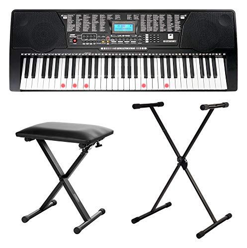McGrey LK-6150 61 Tasten Keyboard Set (Einsteiger-Keyboard mit 61 Leuchttasten, 255 Sounds und 255 Rhythmen, integrierter MP3-Player, inkl. Ständer und Hocker) Schwarz