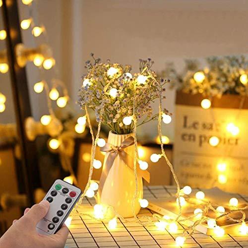 Lichterkette Kugeln 33Ft 100 LED,Globe Lichterketten mit Stecker für Innen und Außen,8 Modi mit Fernbedienung für die Schlafzimmerdekoration Innen,Garten,Hochzeit,Weihnachts Dekoration ( Warmweiß)
