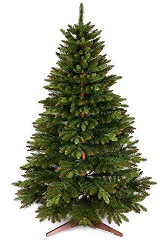 Weihnachtsbaum künstlich 180cm – Naturgetreu, Besonders dichte Zweige, einfacher Aufbau, Made in EU - Premium Christbaum mit Holzständer, Aufbewahrungstasche – Edle Nordmanntanne von Pure Living