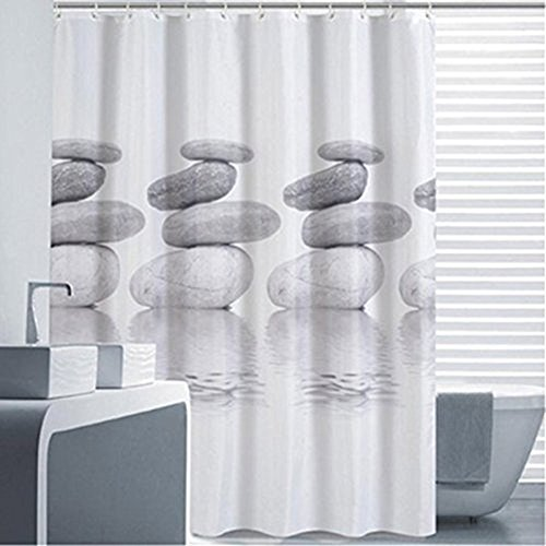 Goldbeing Duschvorhang 120x180 Textil Grau Pebble Schimmelresistenter und Wasserabweisend Shower Curtain mit 12 Duschvorhangringen