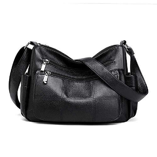 GATANEW Damen Pu-Tasche UmhäNgetasche UmhäNgetasche Weiche Lederbrieftasche BüRotasche Mit GroßEr KapazitäT Retro-Frauentasche schwarz