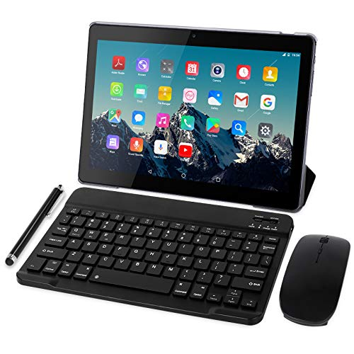 Tablet 10 Zoll 4G LTE - TOSCIDO M863 Tablets Android 10.0,Tablet PC 4 GB/RAM,64 GB/ROM ,Otca Core,Dual SIM,WiFi, Tastatur |Wireless Maus|M863 Tablet Cover und Mehr Enthalten - Grau