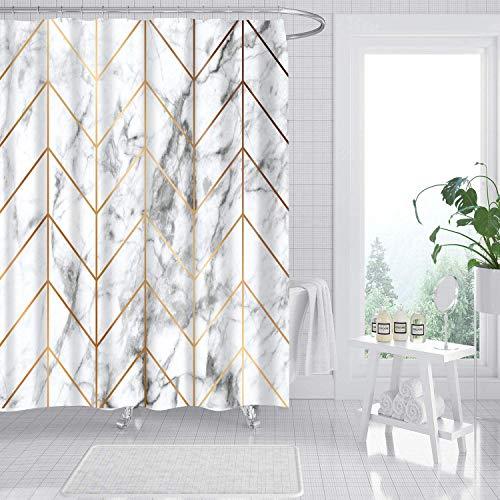 amzdeal Duschvorhang 180 x 180 cm mit 12 Ringe, Polyestergewebe Wasserdicht Maschinenwaschbar, für Badewanne Duschen Dekorative Backstein Badezimmer- Marmor mit Streifen