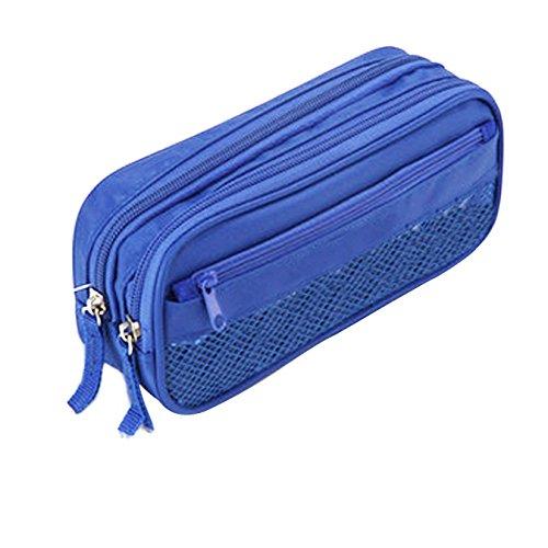 Uooom schwarze Federmappe, drei Taschen, großes Fassungsvermögen, Bürobedarf, Stitfeetui, Tasche blau