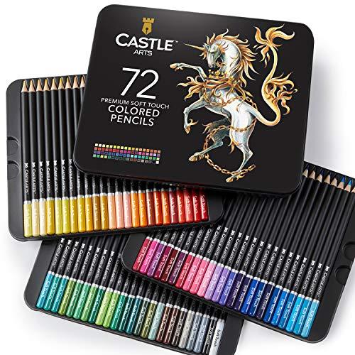 Castle Art Supplies 72 Stück Buntstifte Set für Erwachsene Künstler | Ideal zum Ausmalen Bücher Zeichnung Skizzieren