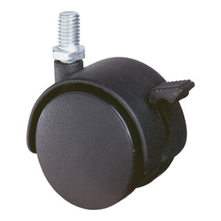 BS Kunststoffdoppelrolle m.Feststeller D.50mm Trgf. 40kg m.Gew.stift M10 Ku.schwarz
