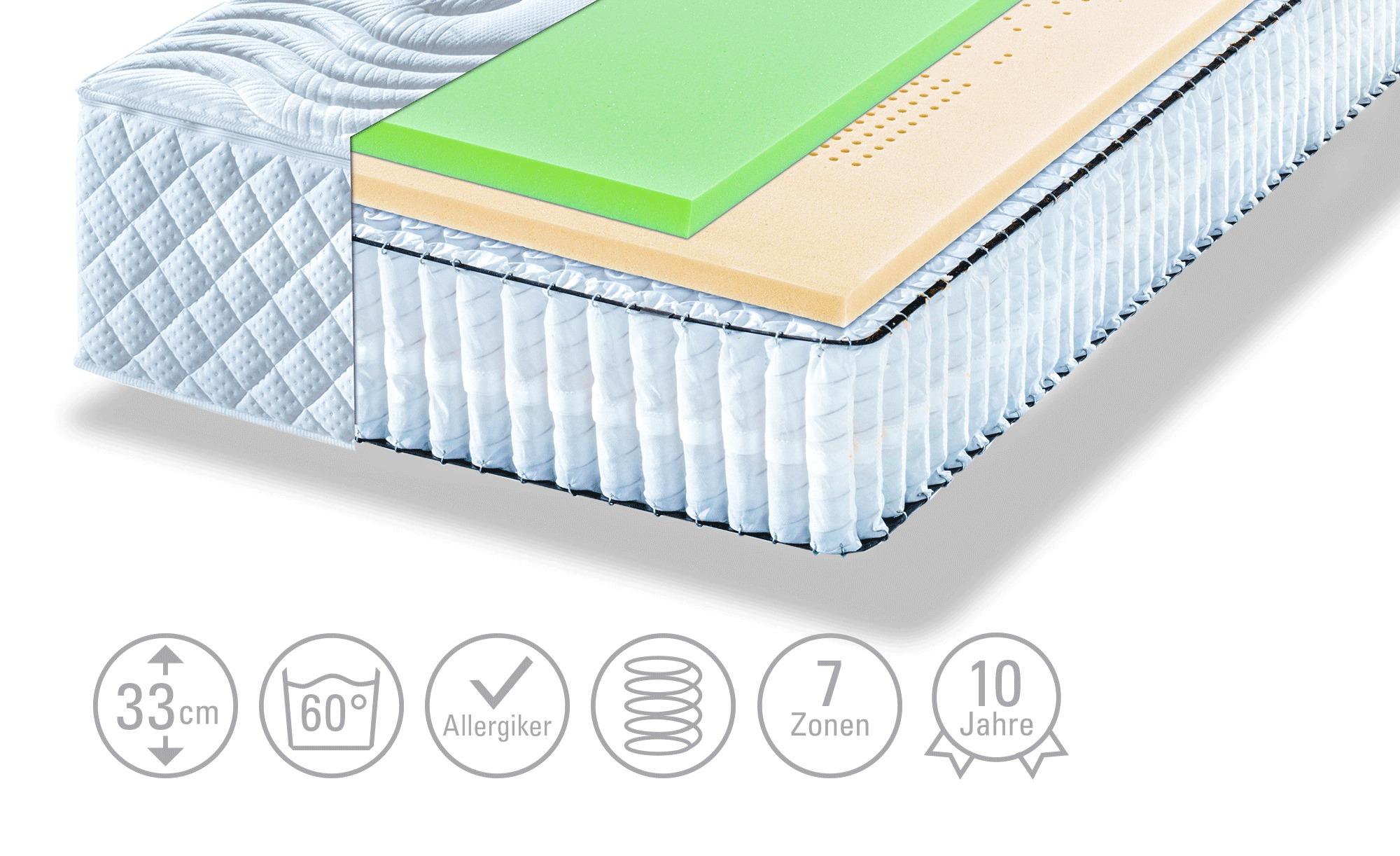 Artone Tonnentaschenfederkern-Matratze  Boxspring Comfort - weiß - 80 cm - 33 cm - Matratzen & Zubehör > Federkernmatratzen - Möbel Kraft