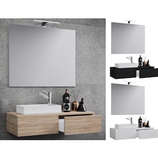 VCM Waschplatz Waschbecken Schrank + Spiegel WC Gäste Toilette Waschtisch klein schmal 'Gudas Spiegel'
