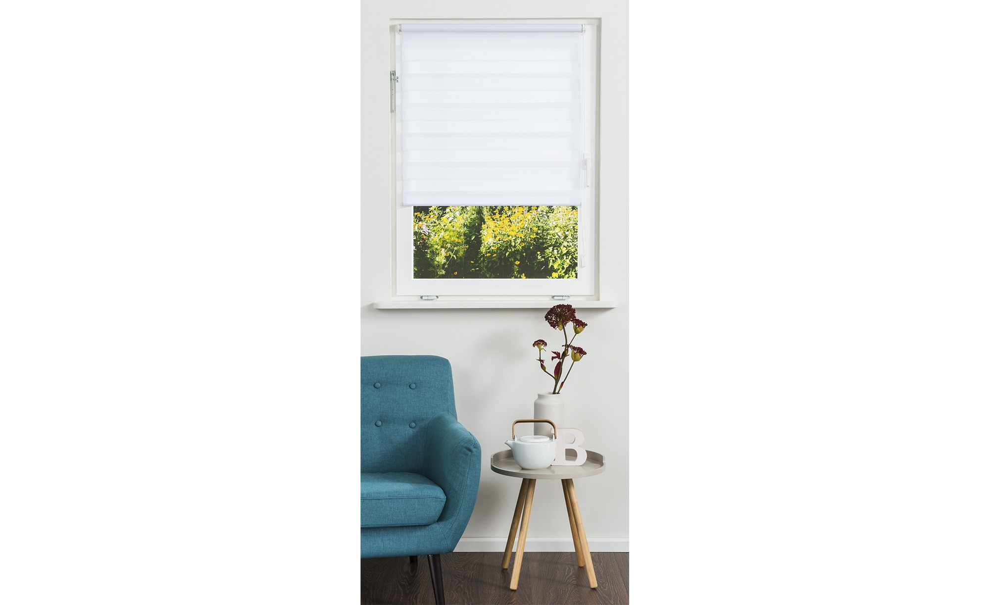 HOME STORY Klemmfix Duo Rollo - weiß - Polyester - 100 cm - Sconto