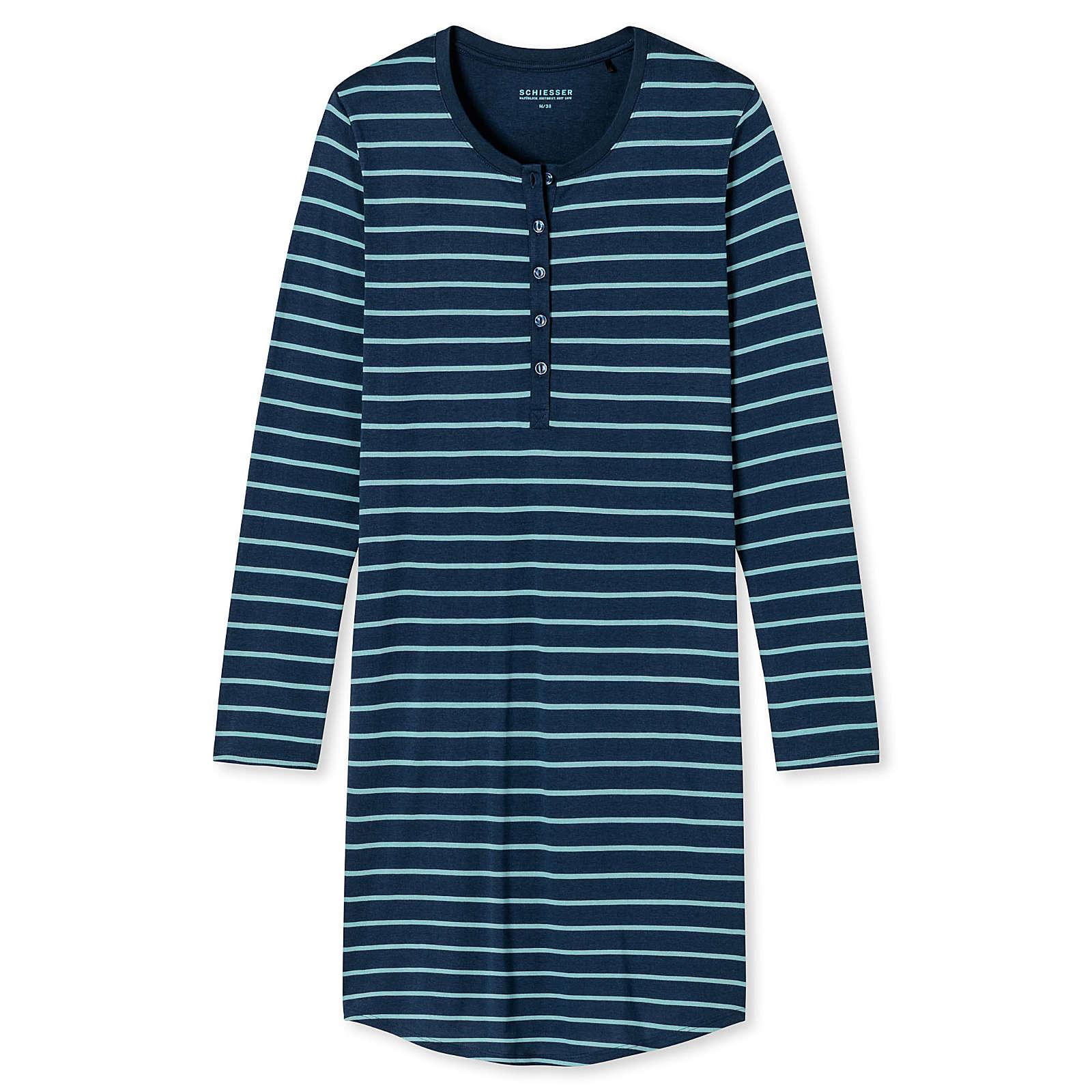 SCHIESSER Damen Nachthemd, 95 cm - Sleepshirt, 1/1-Arm, Knopfleiste, Ringel Nachthemden blau Damen Gr. 52