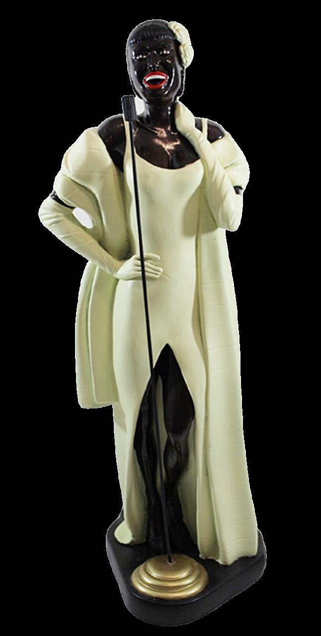 Dekofigur Deko Figur Sängerin Band Musikerin mit Mikrophon im Abendkleid aus Kunstharz H 52 cm