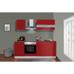 Respekta Küchenzeile KB210WRC 210 cm Weiß - Rot