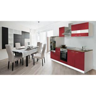 Respekta Küchenzeile KB270WRC 270 cm Weiß - Rot