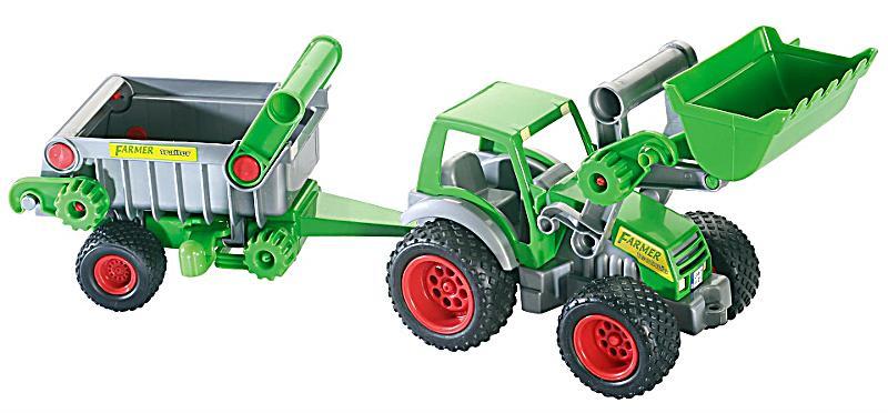 WADER Farmer Traktor mit Frontlade + Kippanhänger