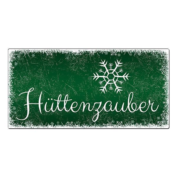Weihnachtsdeko Schneegestöber - Schild mit Wunschtext - 300 x 150 mm grün
