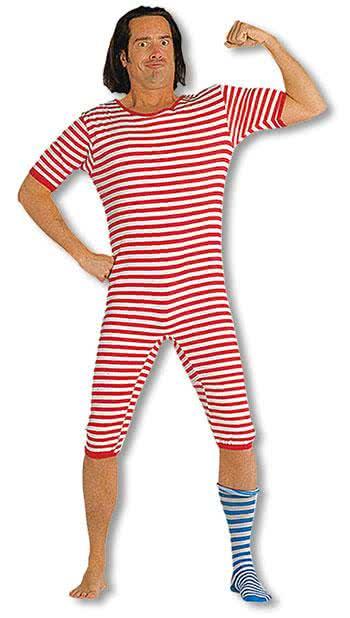 Ringelbadeanzug rot weiß   Klassische Karnevalskostüme M
