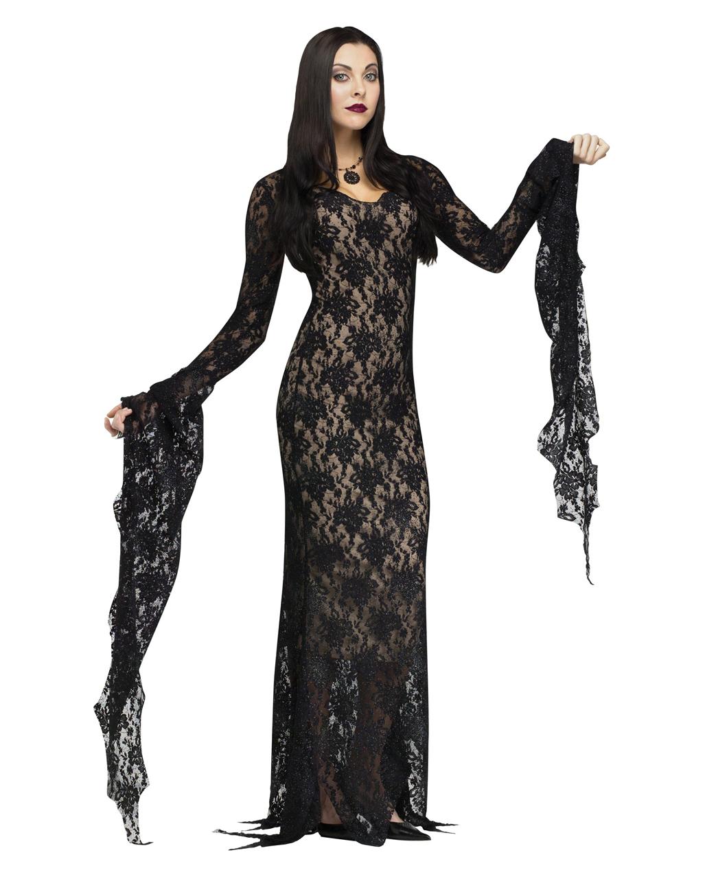 Morticia Deluxe Kostüm mit Spitze  Halloween Abendkleid M
