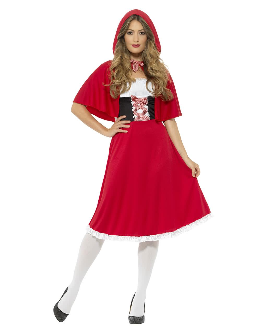 Rotkäppchen Kostüm mit Kapuze für Karneval L