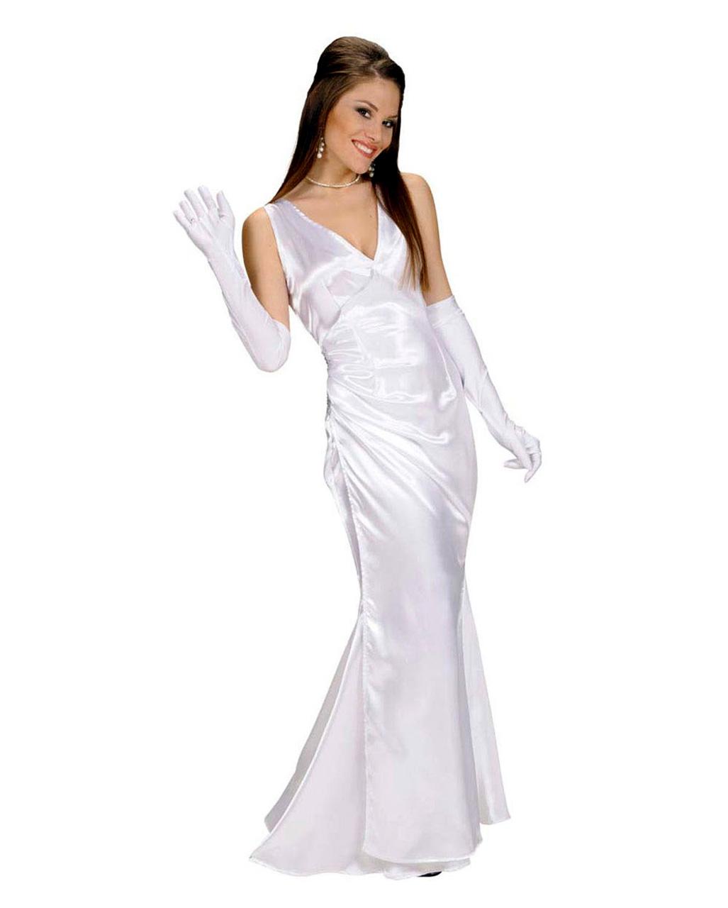 Abendkleid weiß Gr.S als Prom Queen Kostüm