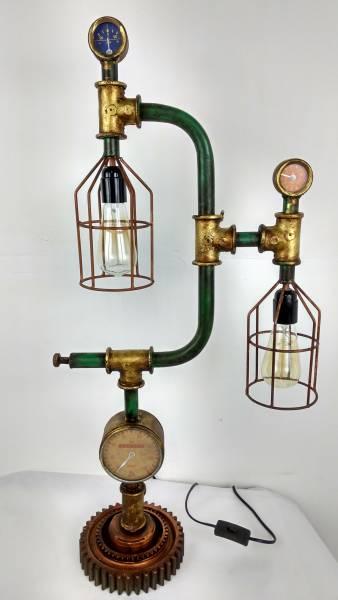 Tisch-Lampe Leuchte Pipe Steampunk Industrial Industrie Art Retro Vintage Design