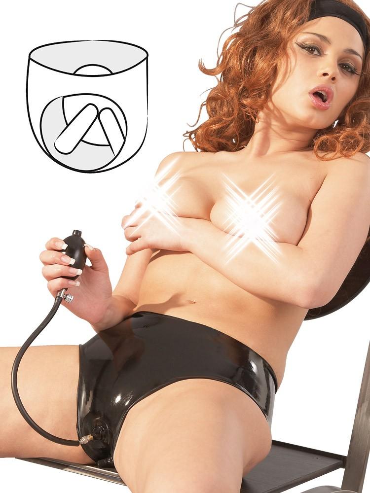 Latex-Slip mit Pump-Dildos, schwarz (L)