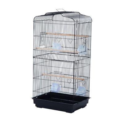 PawHut Vogelvoliere Papagei Wellensittich schwarz  Erwachsene