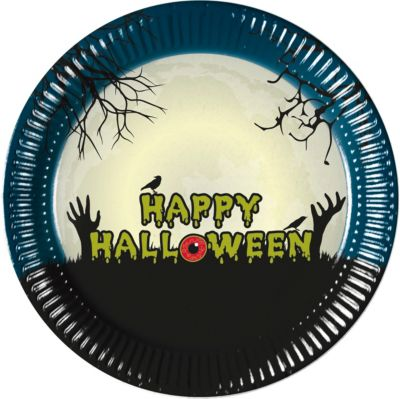 Procos Halloween 8 Pappteller 23 cm Design Halloween Scary Moon schwarz-kombi