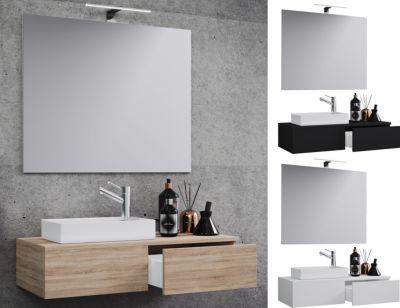 VCM Waschplatz Waschbecken Schrank + Spiegel WC Gäste Toilette Waschtisch klein schmal 'Gudas Spiegel' braun