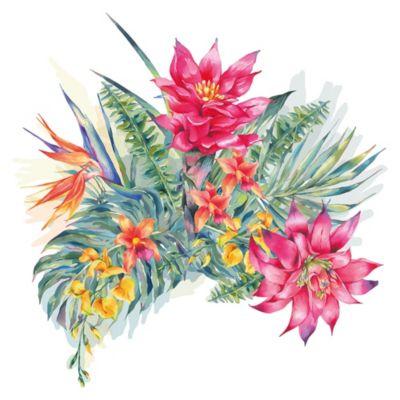 dekodino Wandtattoo Blumen Aquarell Blumen mit Wiese Wandtattoos mehrfarbig Gr. 40 x 40