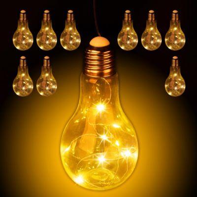 relaxdays 10x Deko Glühbirne LED zum Hängen LED-Deko Hängelampe Glühlampe mit Lichterkette transparent