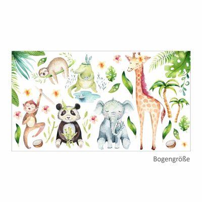 Wandtattoo 113 Wandtattoo Dschungeltiere Elefant Giraffe Panda Faultier Affe bunt